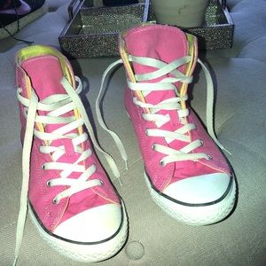 Pink and green converse high top size 9